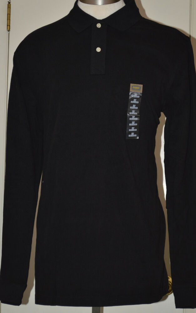 Men 39 S Foundry Supply Black Long Sleeve Polo Shirt Sizes Lt