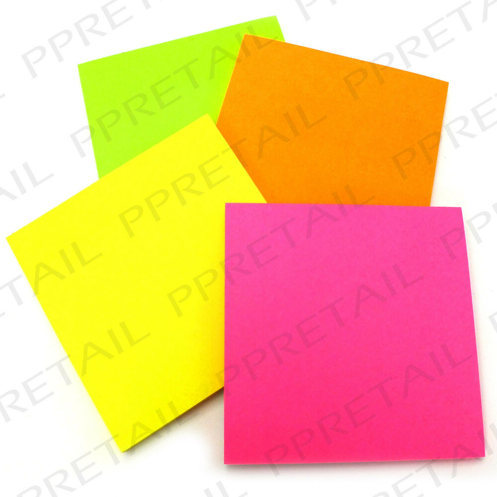 MULTI COLOURED Neon Square Memo Reminder Note Office Desk Pack | eBay
