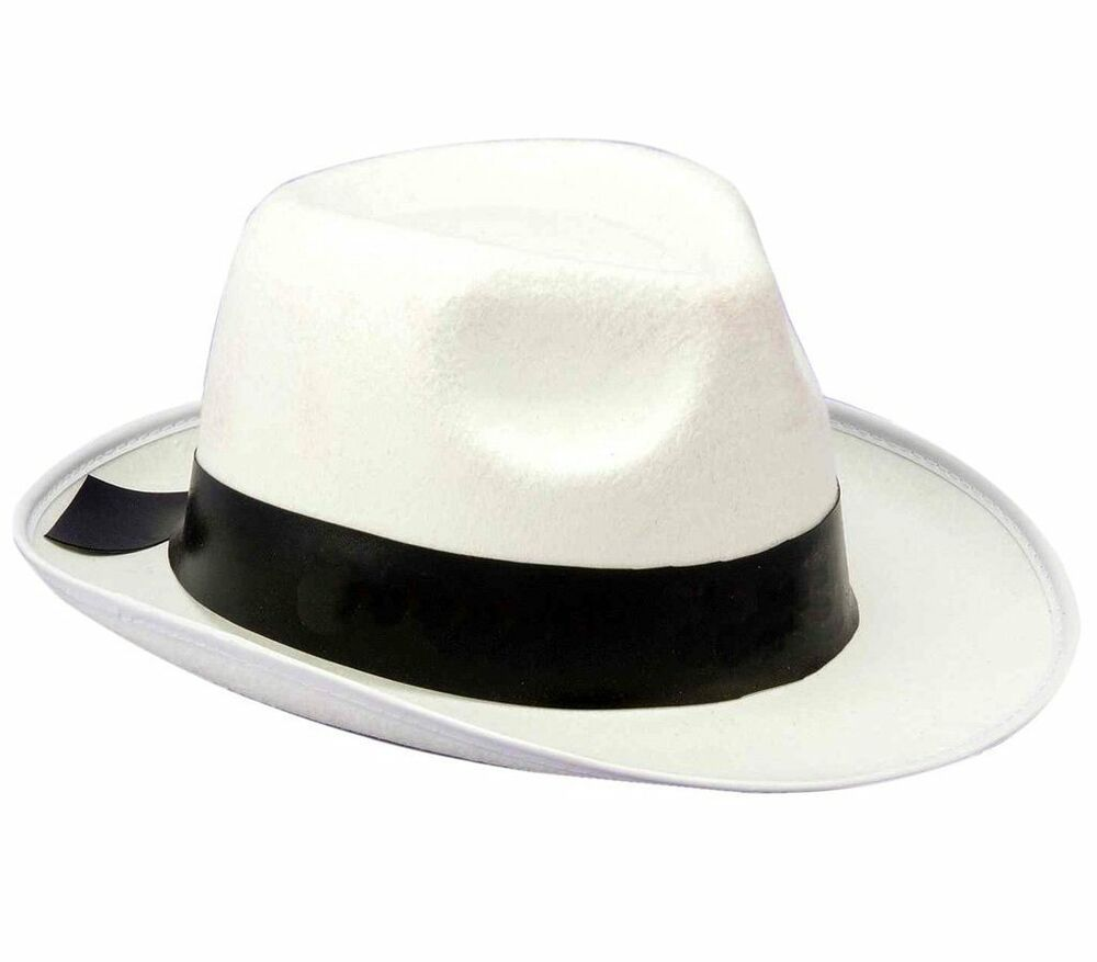WHITE GANGSTER HAT Costume Fedora Black Band Men Women 20s ...
