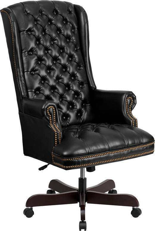 leather executive chair high back traditional tufted black leather executive 16625 | s l1000