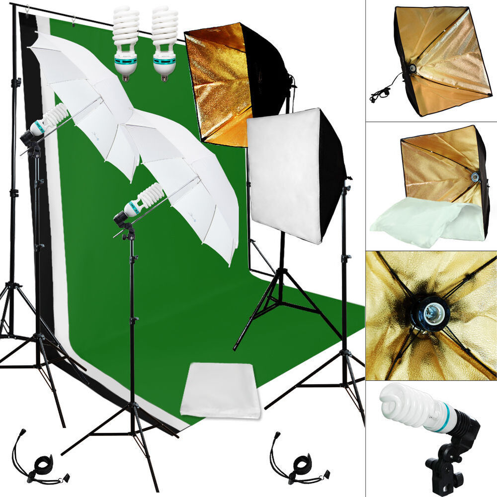 photography studio lighting stand background muslin kit. Black Bedroom Furniture Sets. Home Design Ideas
