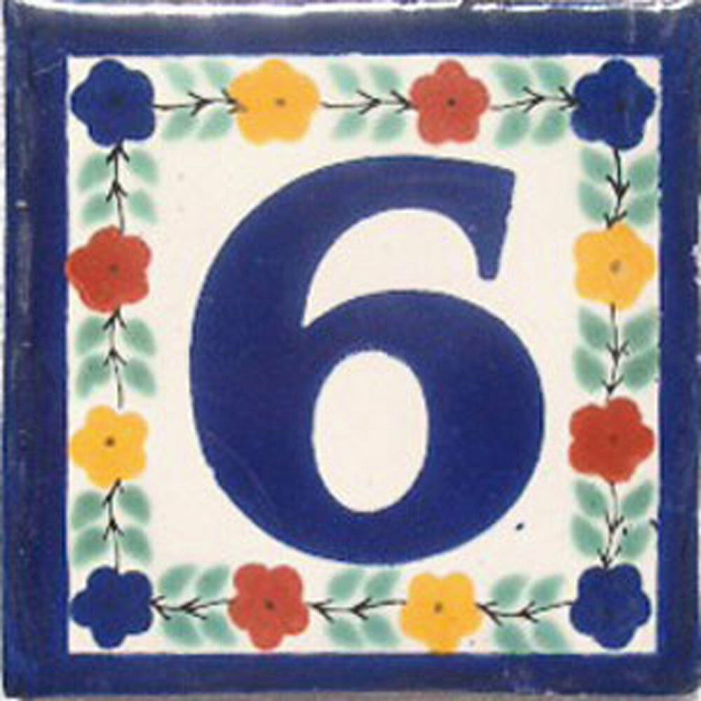 Hand Painted House Number Tiles