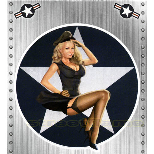 nose art 50 39 s miss usa pin up girl sticker decal bombs away reporting for duty ebay. Black Bedroom Furniture Sets. Home Design Ideas