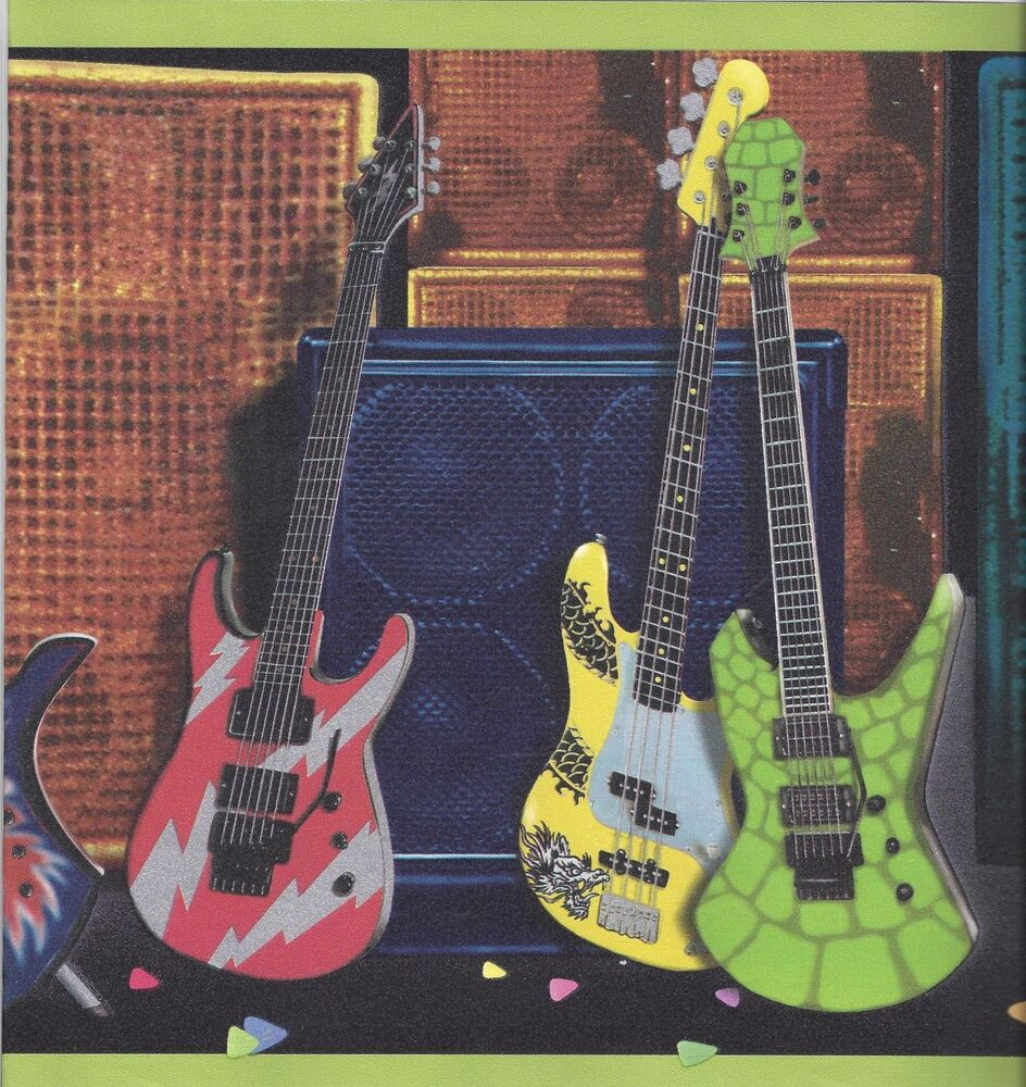 Electric guitars with amplifiers with lime green edge - Guitar border wallpaper ...