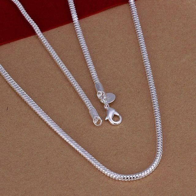 925sterling Silver Snake Chain Necklace 3mm European Beads