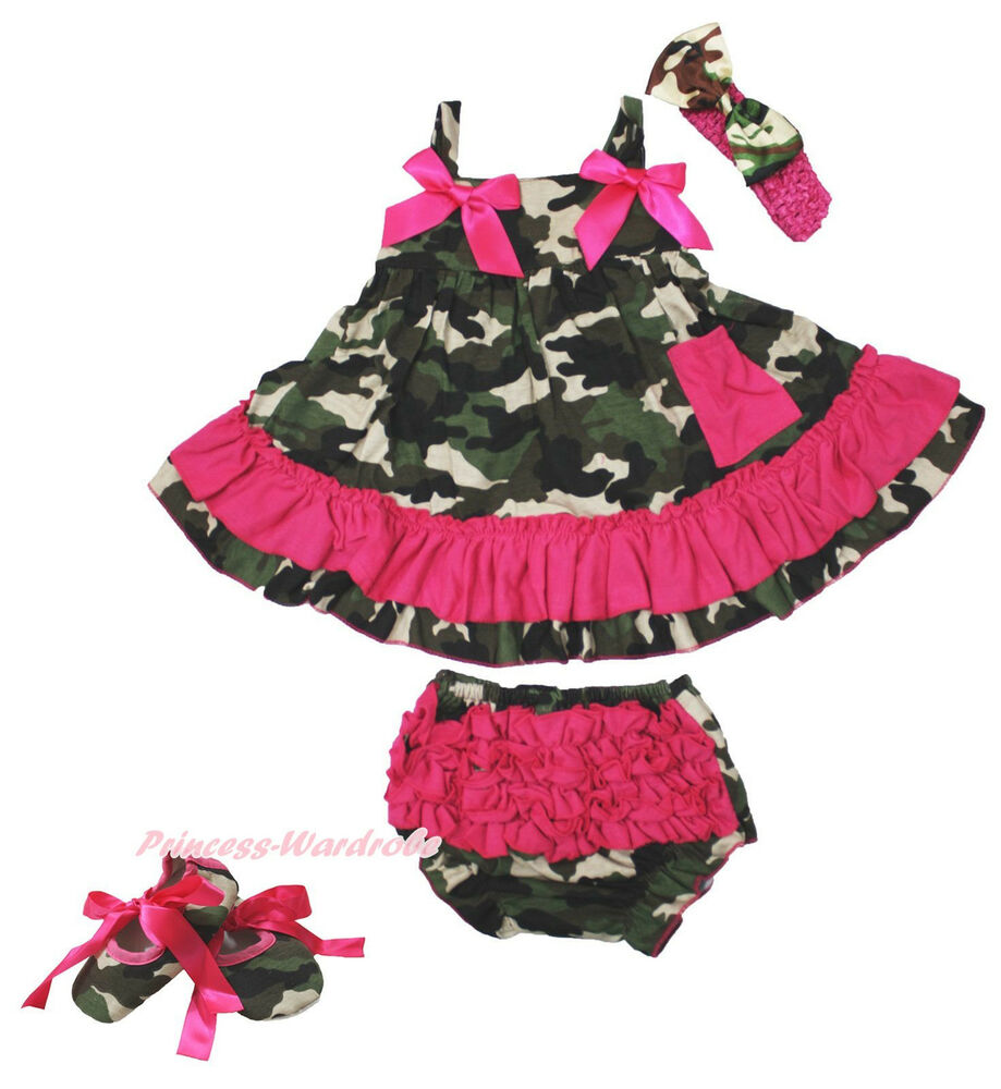 Hot Pink Camouflage Bow Swing Top Baby Girl Ruffle Bloomer