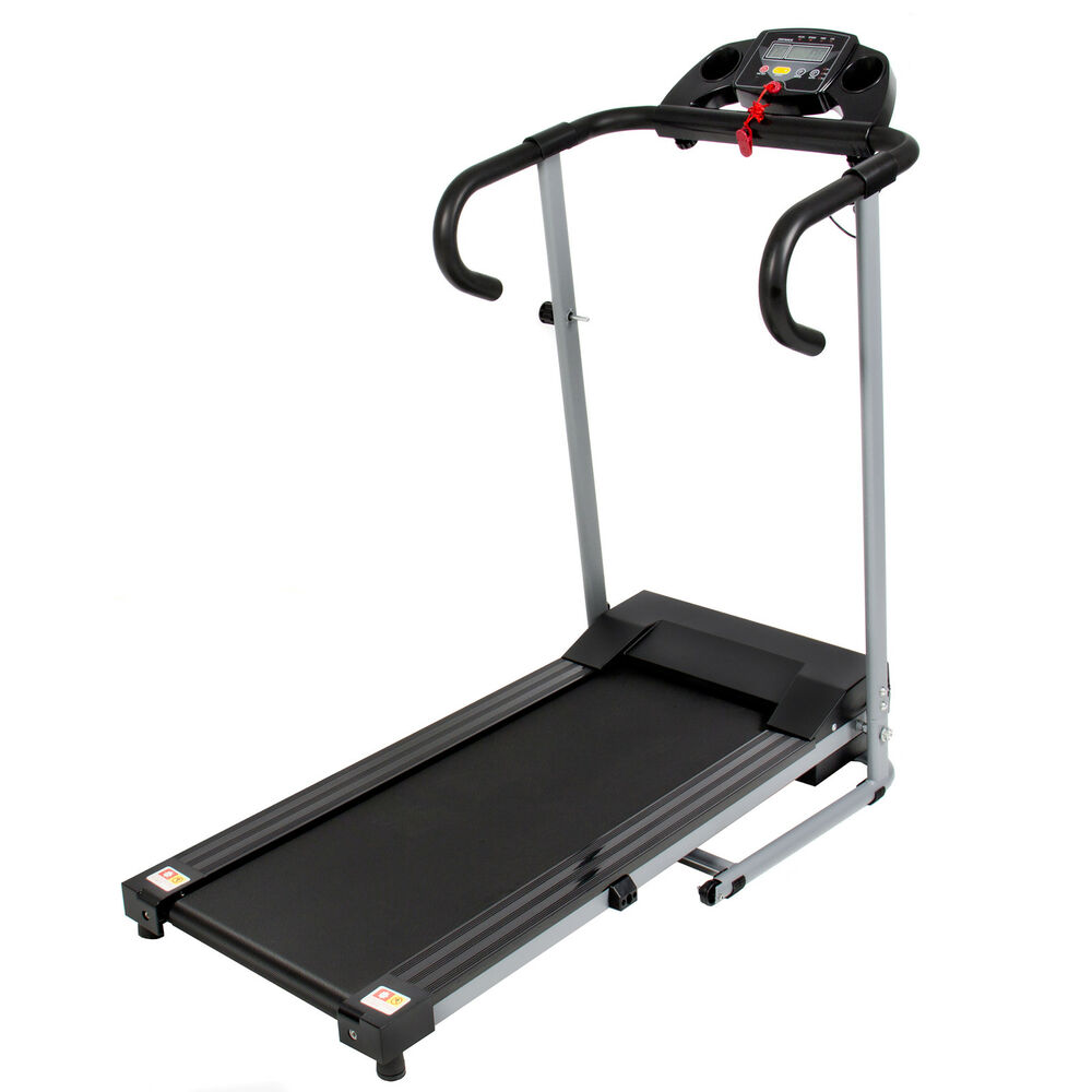 Fitness Machines: Black 500W Portable Folding Electric Motorized Treadmill