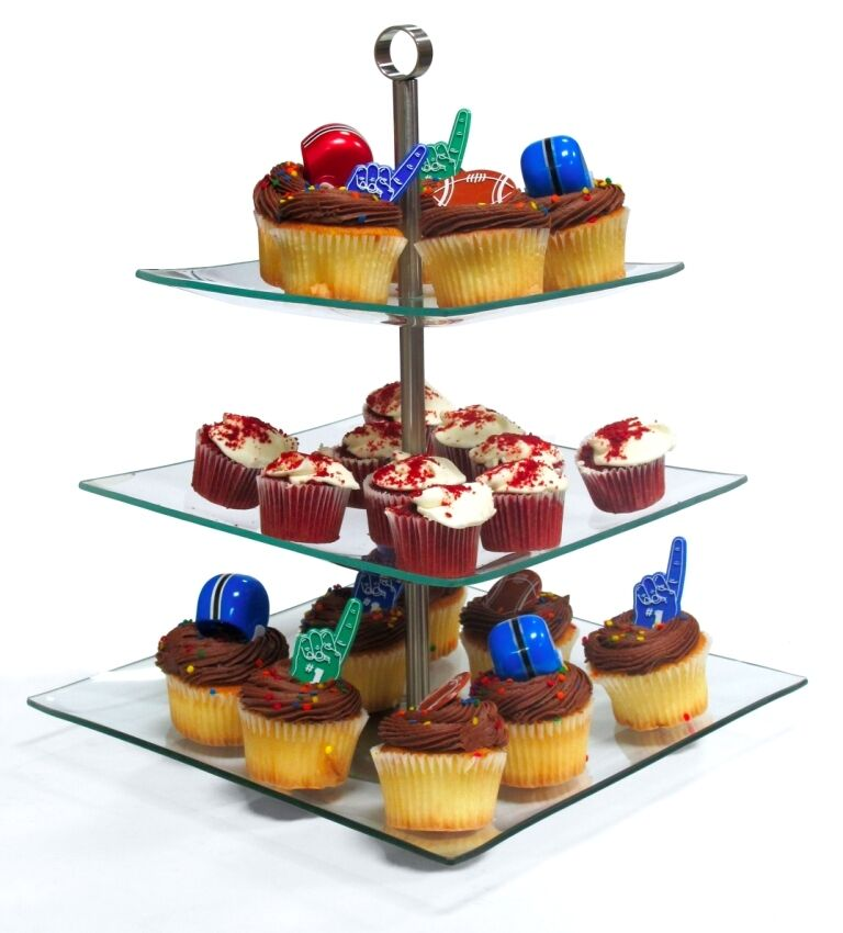 3 Tier Square Glass Cupcake Stand Wedding Birthday Party