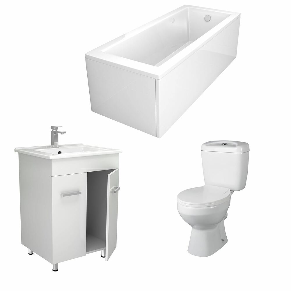 Modern Bathroom Suite with Vanity Unit & Toilet Choice of ...