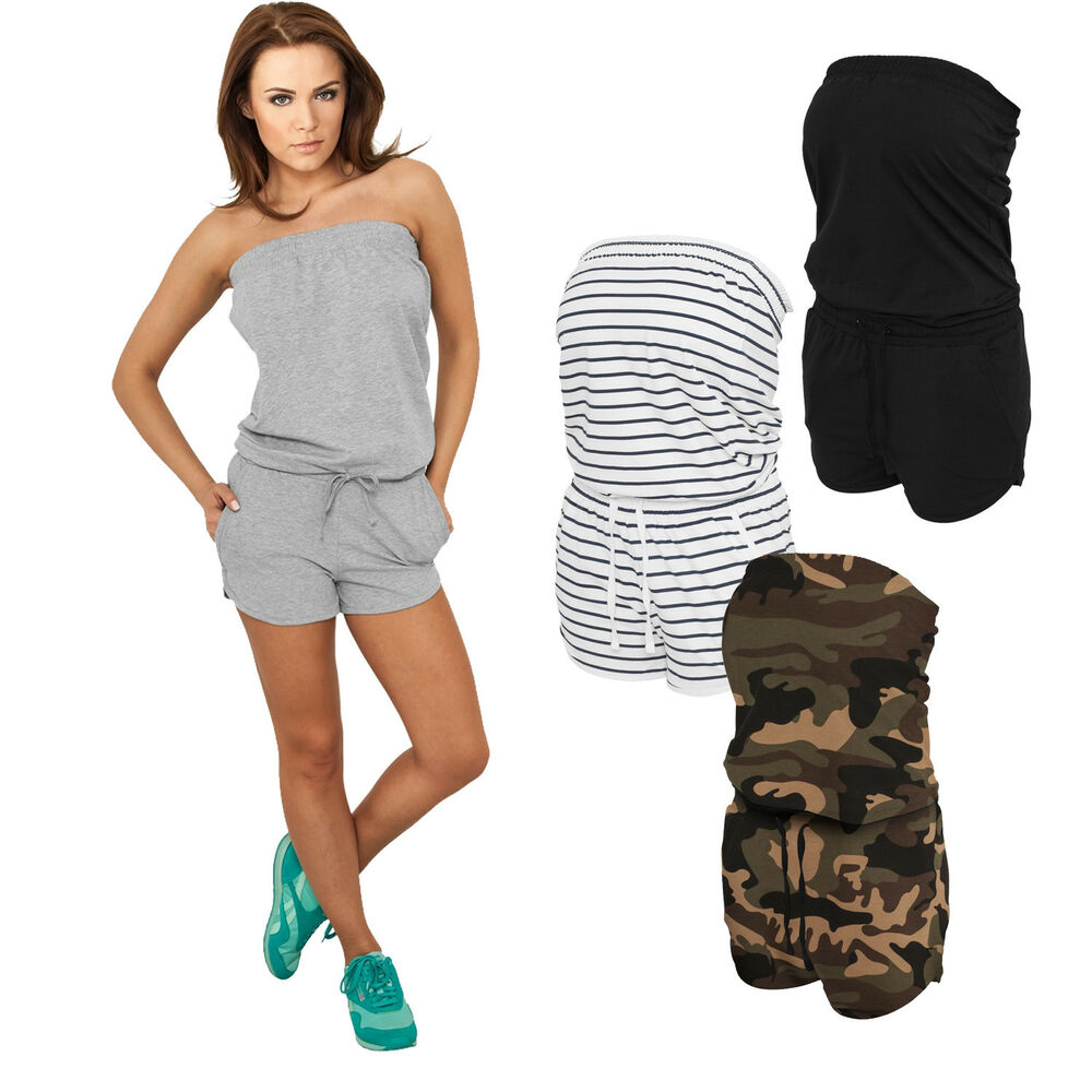 urban classics hot jumpsuit kurzer sommer overall damen neu camo streifen uni ebay. Black Bedroom Furniture Sets. Home Design Ideas