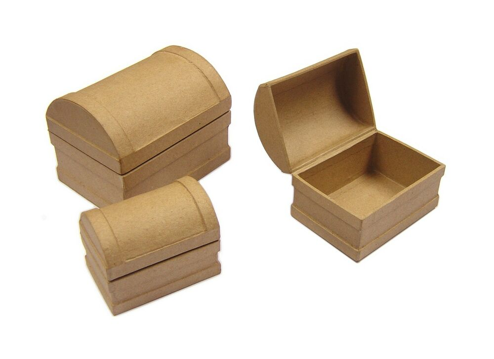 Set 3 treasure chest nest of jewellery craft boxes for for Craft paper mache boxes