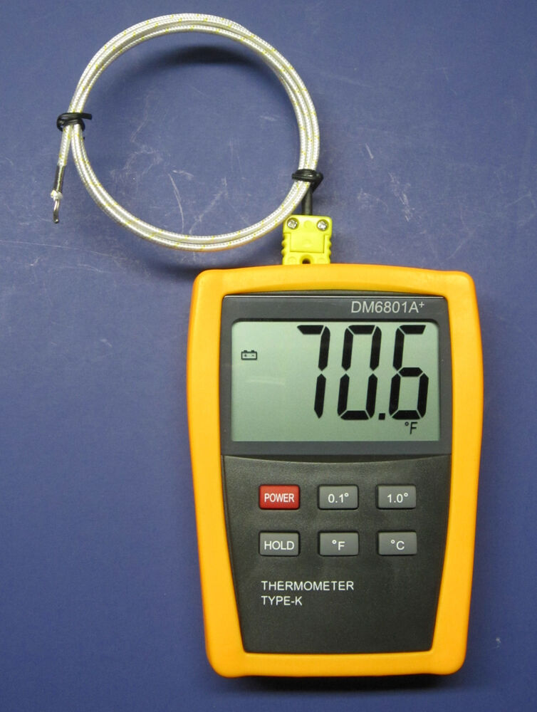 Digital K-Type Thermometer with High Temperature Wire Probe Furnace ...