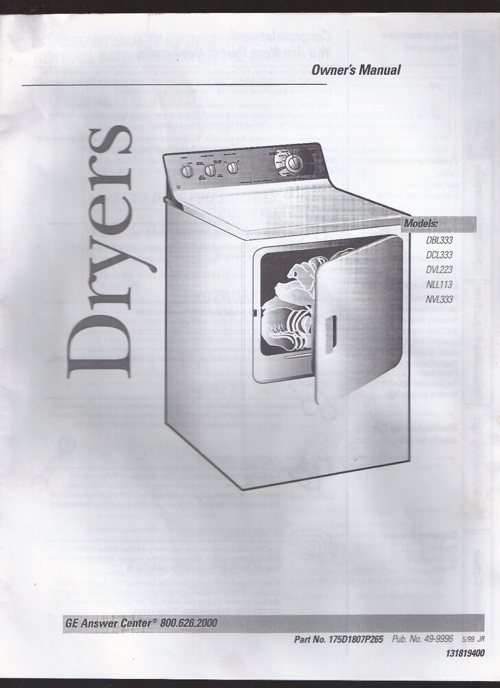 Ge Dryer Owner S Manual Models Dbl33 Dcl33 Dvl223 Nll113