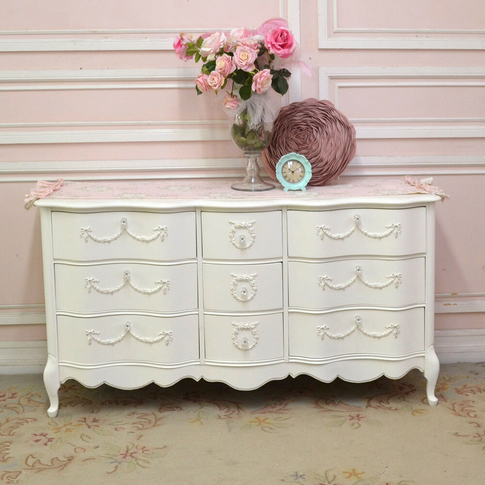 shabby cottage chic 9 drawer dresser french vintage style. Black Bedroom Furniture Sets. Home Design Ideas