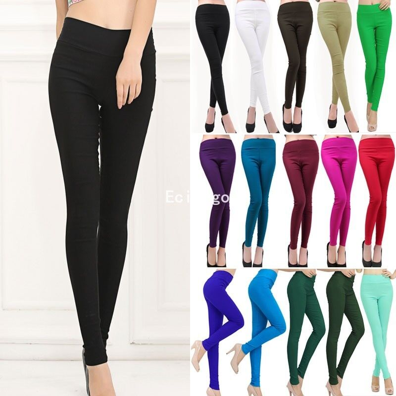 new womens sexy full length leggings pants high waist trousers stretchy ebay. Black Bedroom Furniture Sets. Home Design Ideas