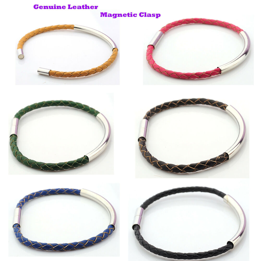 Plaited Real Leather Bracelet With Silver Plated Tube And