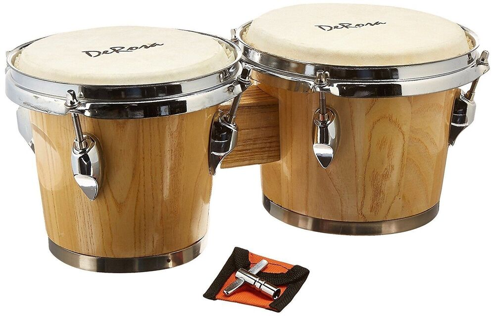 natural wood pro bongos mini conga drum set studio band music instruments bongo 760459070800 ebay. Black Bedroom Furniture Sets. Home Design Ideas