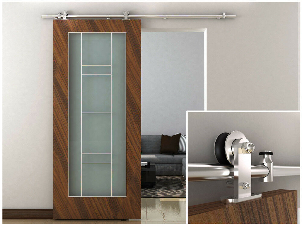 6 6ft european modern stainless steel sliding barn wood door closet hardware set ebay