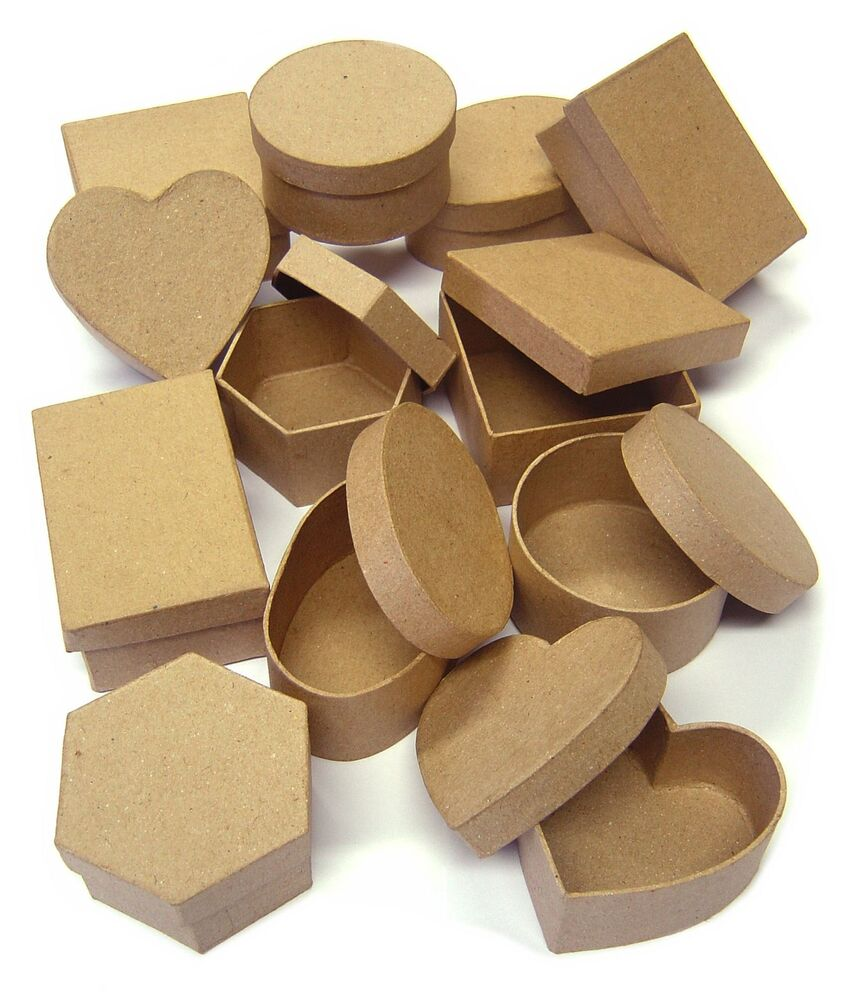 12 shaped gift boxes 6 designs lids for paper mache