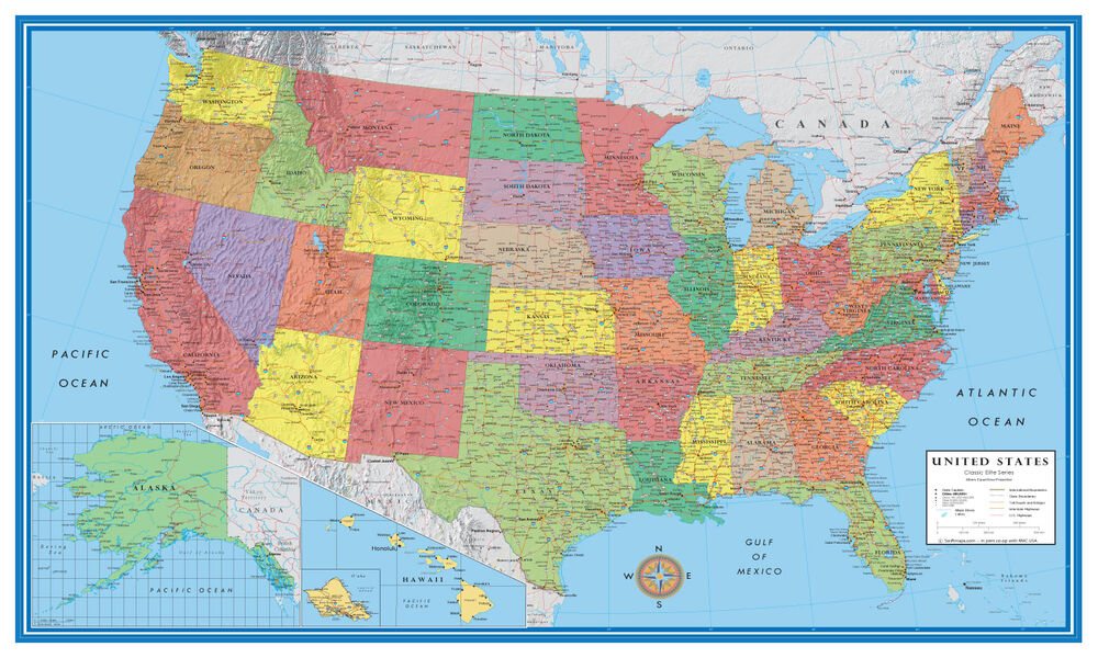 48x78 United States, USA, US Classic Elite Large Wall Map