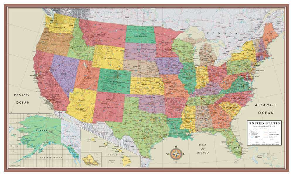 ... USA US Contemporary Elite Wall Map Large Mural Poster Art Decor | eBay: www.ebay.com/itm/United-States-USA-US-Contemporary-Elite-Wall-Map...