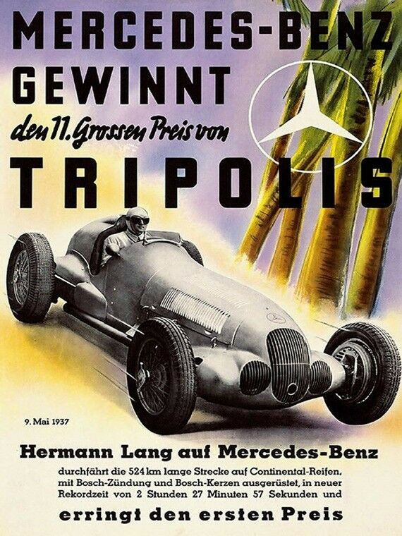 Mercedes benz gewinnt tripolis car race grand prix vintage for Mercedes benz poster
