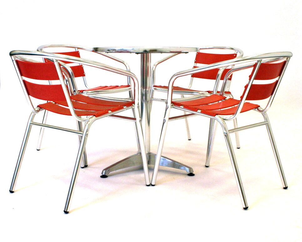 gs ar1 red aluminium bistro furniture cafe table and chairs cafe furniture ebay. Black Bedroom Furniture Sets. Home Design Ideas