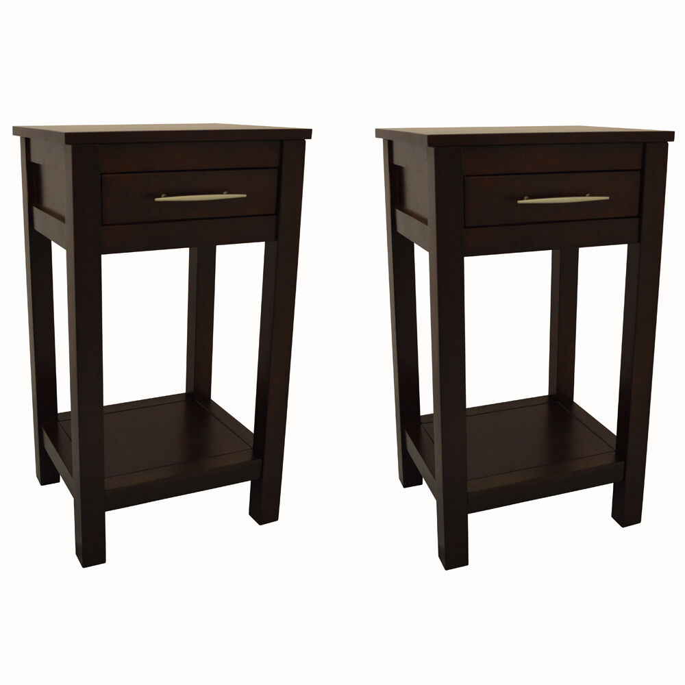 KYOTO  Pair Of Solid Wood Storage Telephone  End Table