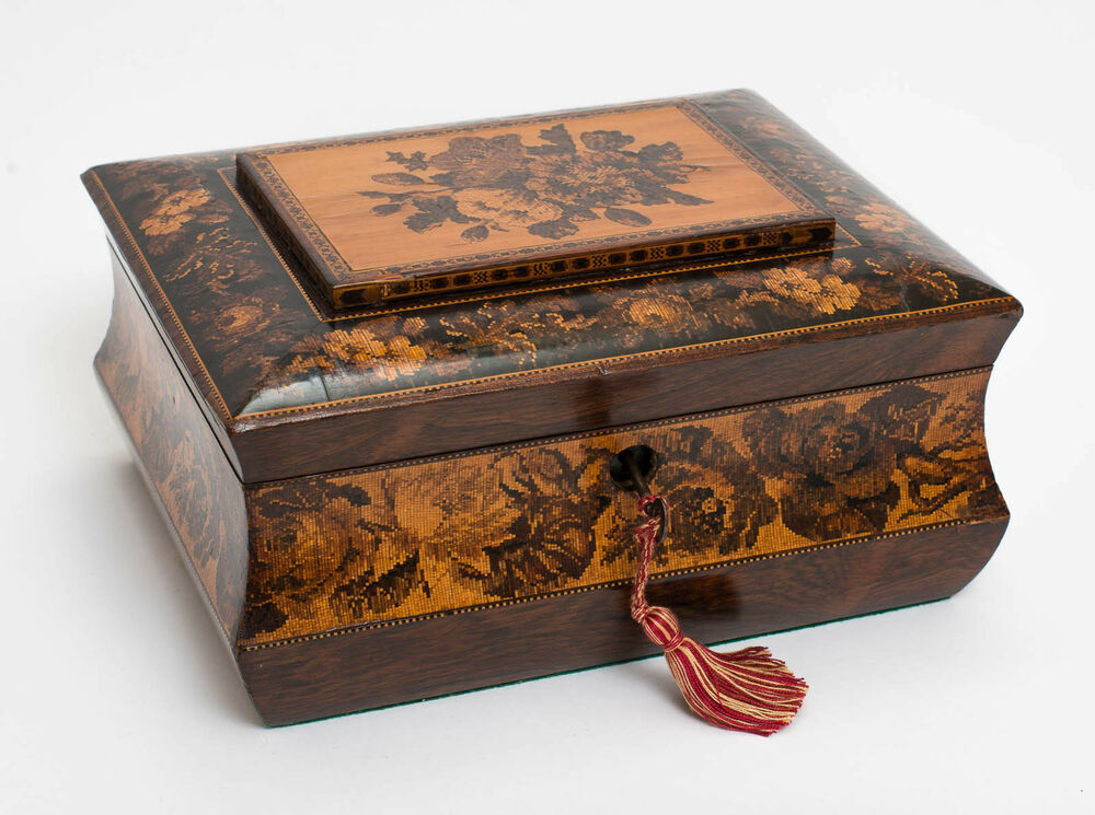 An Antique Tunbridge Ware Sewing Or Work Box Inlaid With