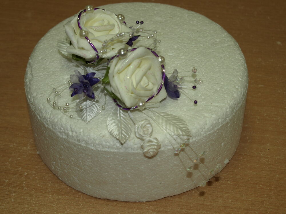 ivory wedding cake with purple roses cake top decoration ivory amp purple wedding flowers ebay 16552