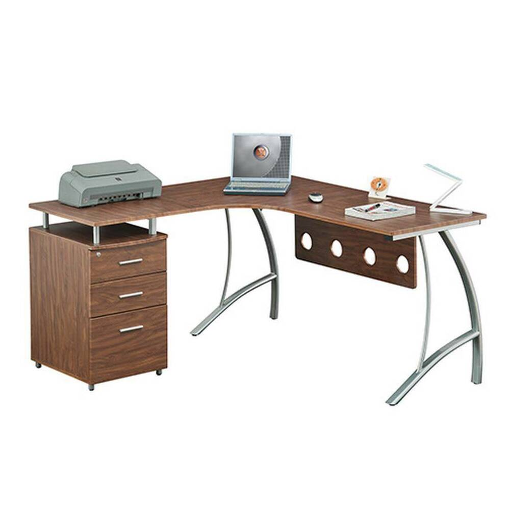 Desk Cabinet: L Shape Corner Desk With File Cabinet. And Privacy Panel