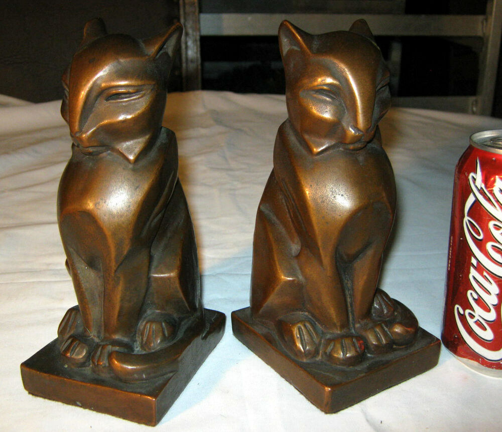 Rare antique bronze clad art deco egyptian gothic medieval cat statue bookends ebay - Gothic bookends ...
