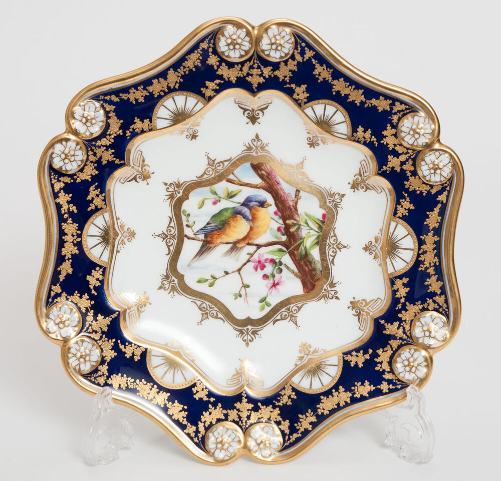 Hand Painted Plates : An antique coalport hand painted cabinet plate with birds