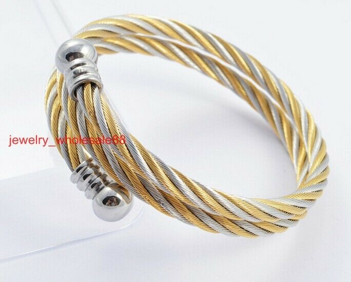 Stainless Steel Two Tone Twisted Cable Wire Womens Cuff