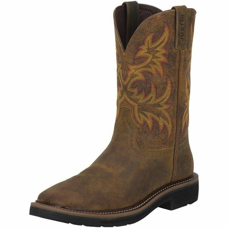 Justin Mens Stampede Non Steel Toe Work Boots Cowboy Boots