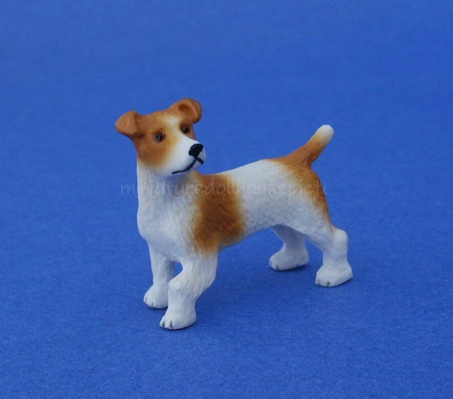Miniature Dollhouse Jack Russell Terrier Dog 1:12 Scale