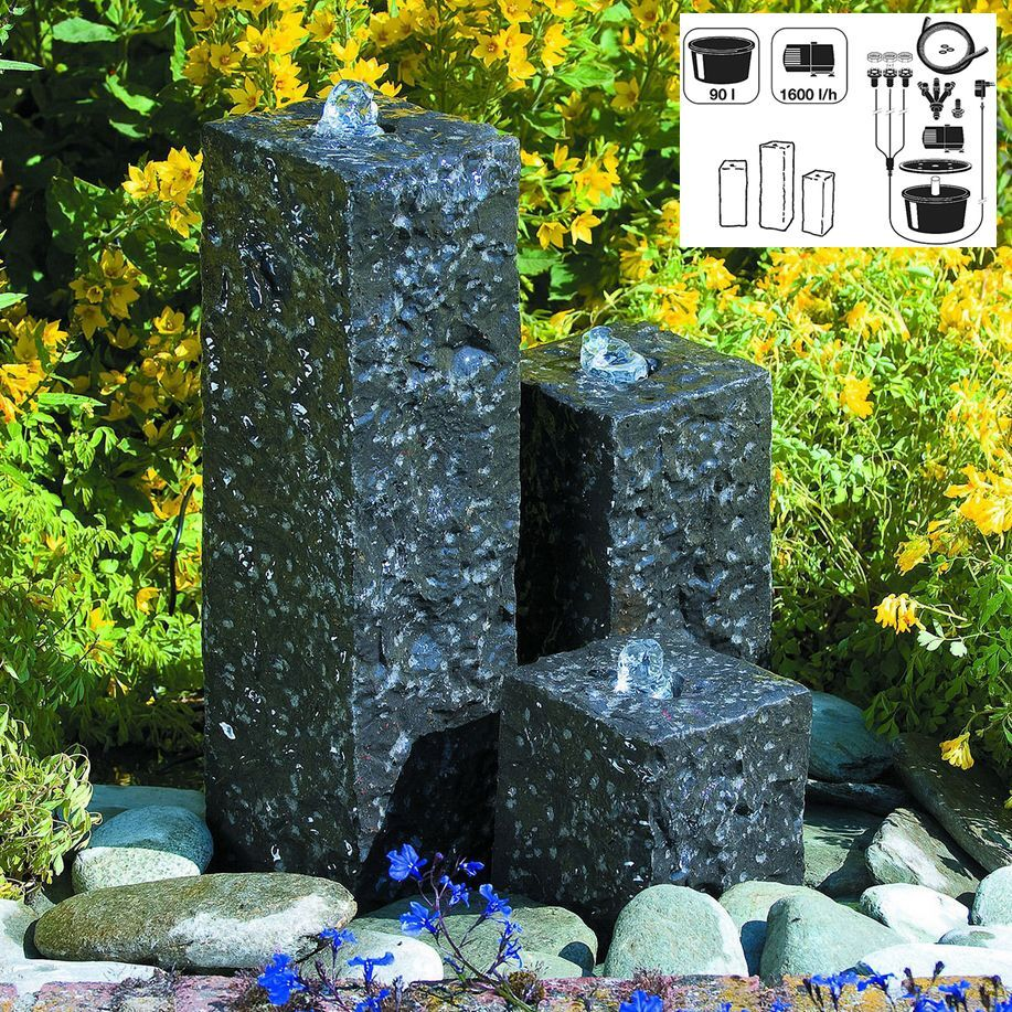 granit springbrunnen mini wasserspiel set mit led. Black Bedroom Furniture Sets. Home Design Ideas