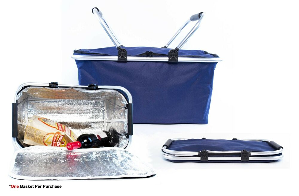 Collapsible Insulated Picnic Basket For 4 : Insulated folding picnic basket cooler with handles