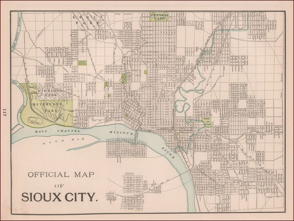 Sioux city iowa antique city map original 1897 ebay for Craft stores in sioux city iowa