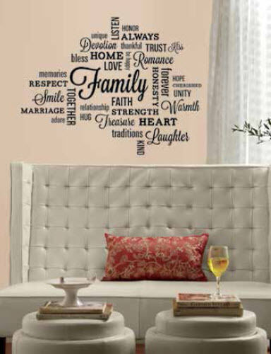quote family wall stickers room home decor inspirational words 34 decals love ebay. Black Bedroom Furniture Sets. Home Design Ideas