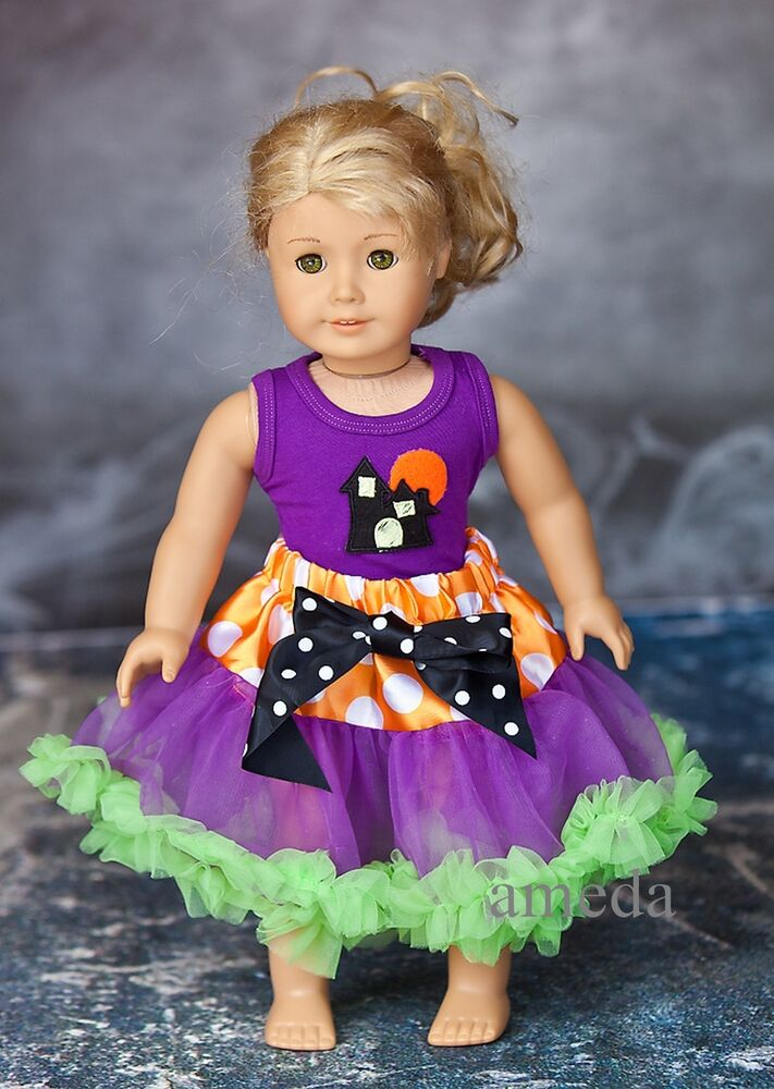 18 american girl doll halloween orange tutu haunted house party dress