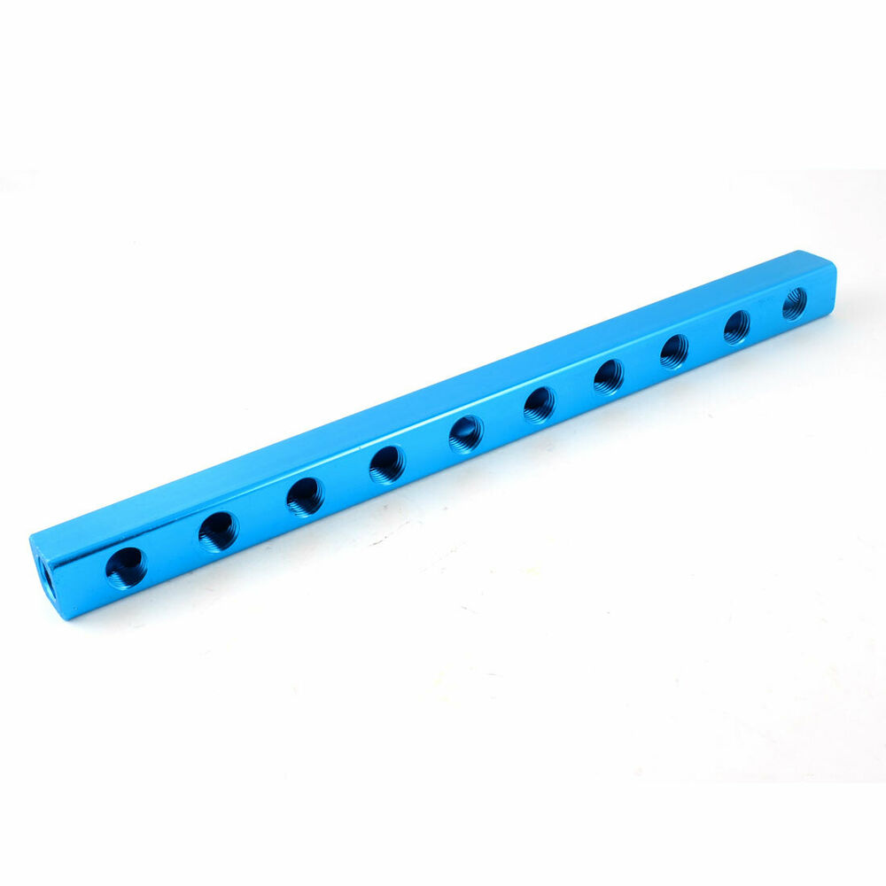 Blue aluminium air pneumatic way port manifold block