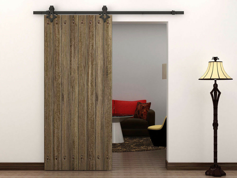 6 ft country style black barn wood steel sliding door. Black Bedroom Furniture Sets. Home Design Ideas
