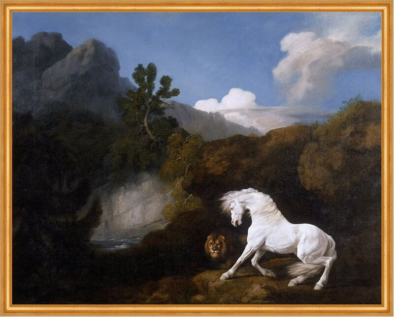 Horse frightened by a Lion George Stubbs cavalli Leone taciturna ...