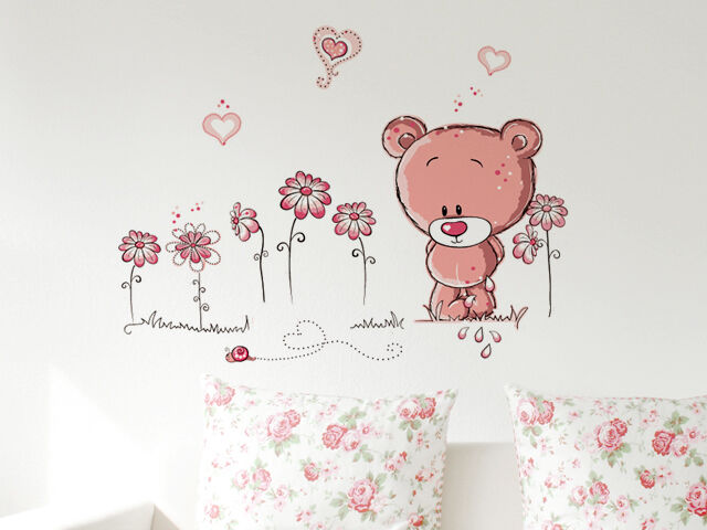 wandtattoo wandsticker wandaufkleber pink b r b rchen deko kinderzimmer cartoon ebay. Black Bedroom Furniture Sets. Home Design Ideas