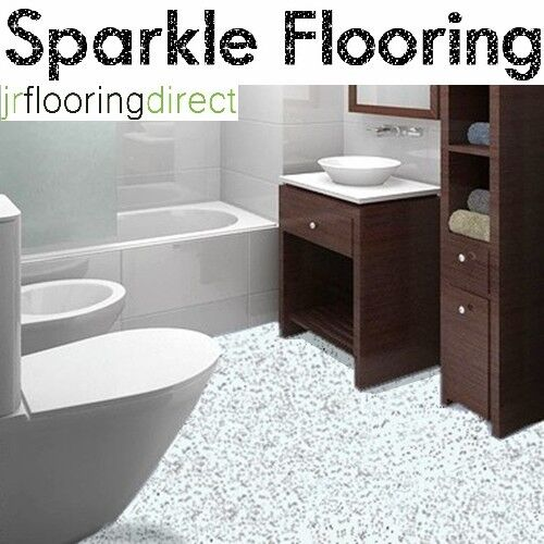White granite effect sparkly flooring glitter sparkle for Lino flooring for bathrooms
