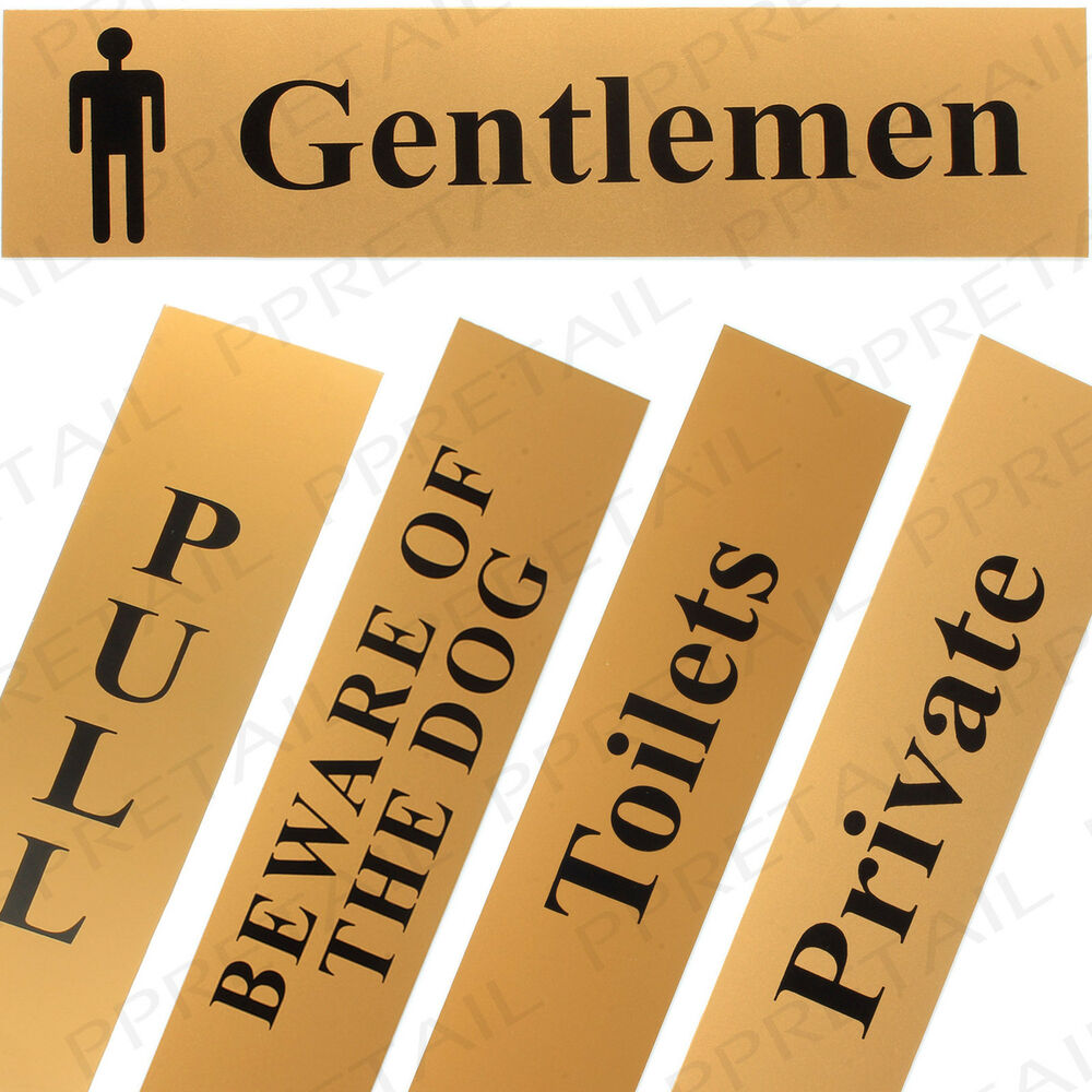 self adhesive door sign range gold black stick on back plate plaque card work ebay. Black Bedroom Furniture Sets. Home Design Ideas