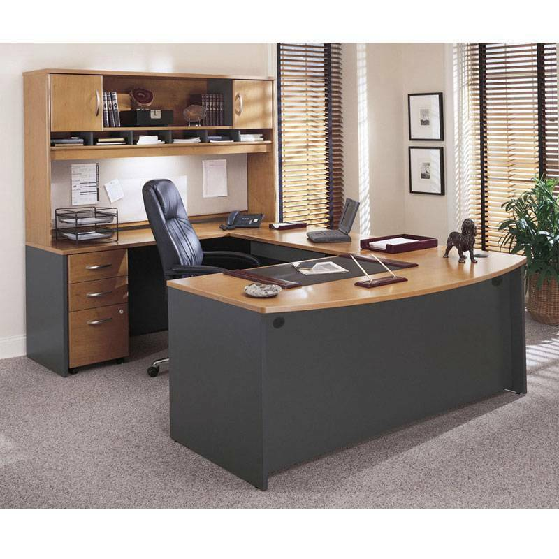 Executive Bow Front U Shaped Desk Package Natural Cherry