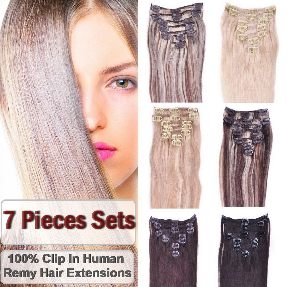 7 Pieces Premium Clip in 100% Remy Human Hair Extensions ...