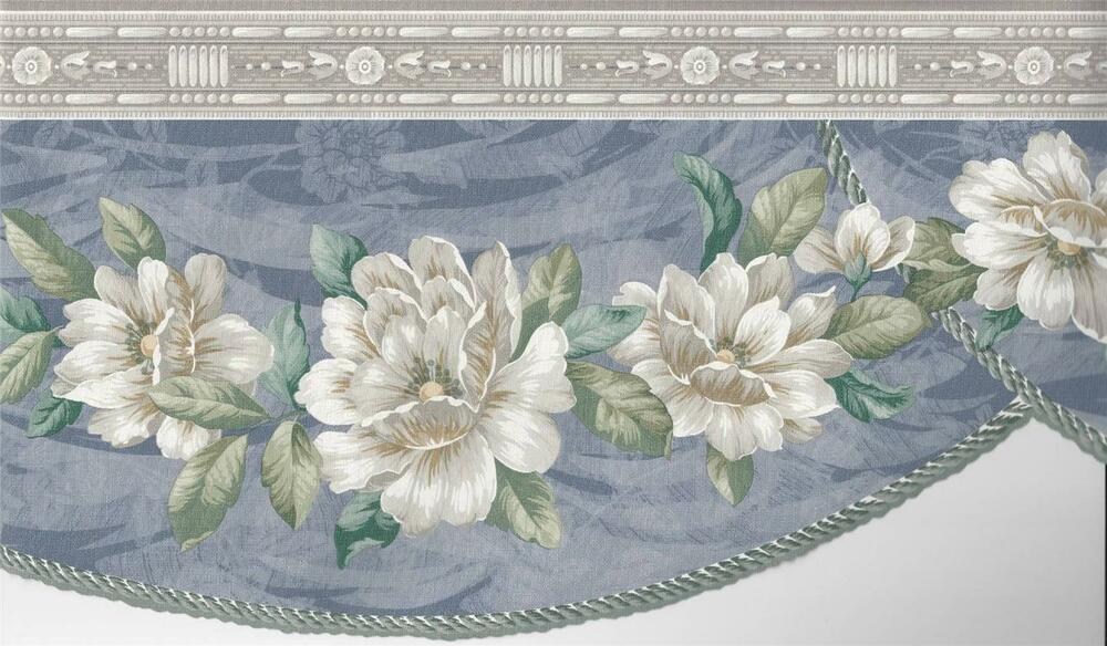 Wallpaper Border Magnolia Floral Blue Swag With Die Cut